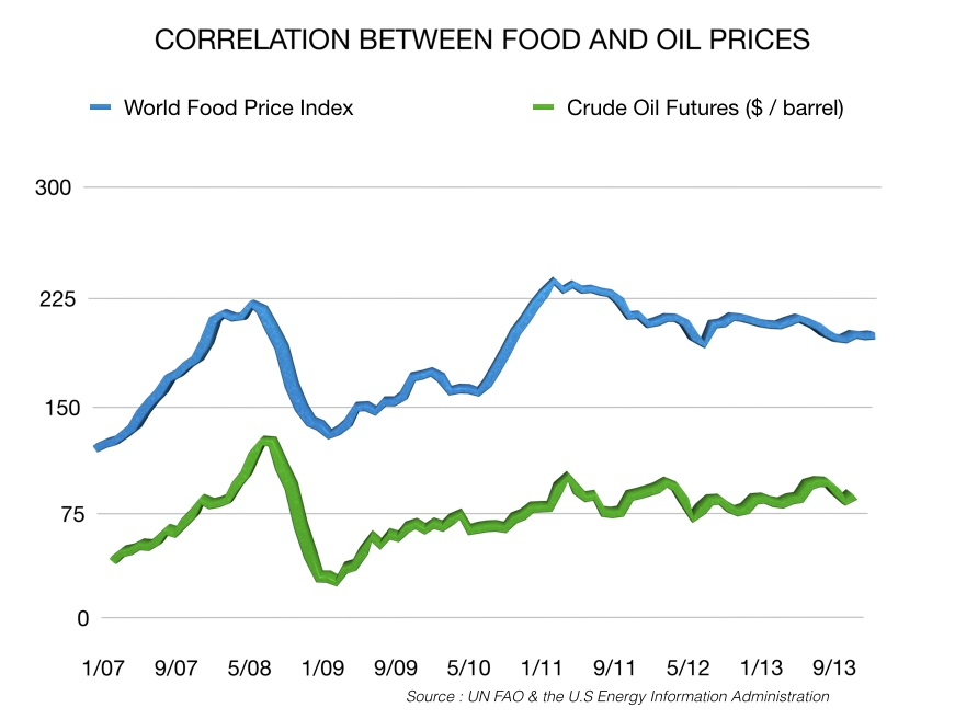 Correlation between food and oil prices.001